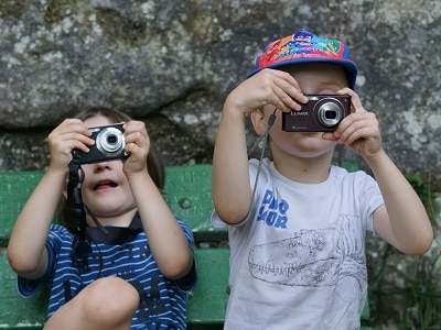 Kleine fotografen in actie